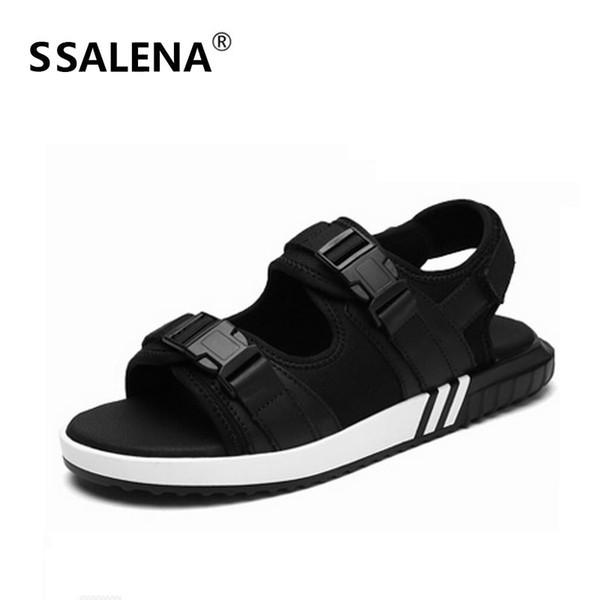 Couleur noire Sandales Hommes Confortable Plat Avec Loisir Chaussures D'été Étanche Antidérapante Semelle Souple Mâle Sandale Chaussures B2882