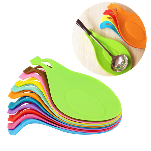 Novelty Candy Color Kitchen Tools Heat Resistant Silicone cup Put A Spoon Mat Insulation Mat Placement make your kitchen more clear