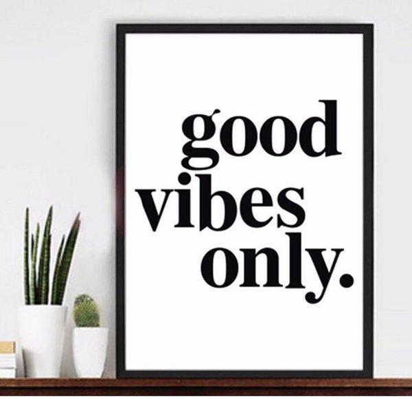 bonnes vibrations seulement philosophie mots Peinture Sur Toile Moderne Home Prints Salon Deco Wall Art Décorer Affiche