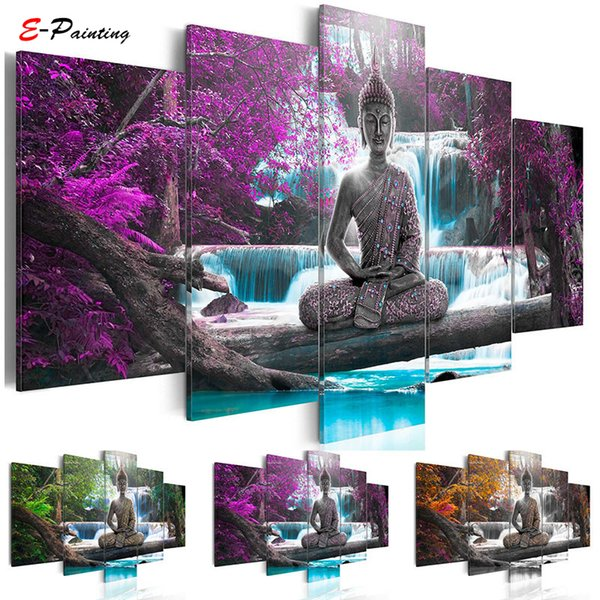 Abstract Canvas Art Painting Buddha Waterfall Landscape Module Printed Poster Wall Art Home Decor Living Room Poster 5 Pieces