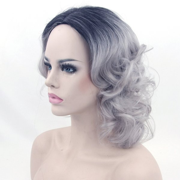 Synthetic Hair Wigs Ombre Black To Gray Heat Resistant Fiber Short Curly Grey Cosplay Wigs For Women Party