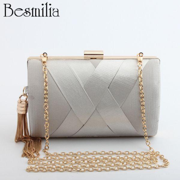 Socialite Hand made Cross-shaped Clutch Evening Bag Metal Tassels Ladies Handbag Mini Wedding Party Bag Chain Shoulder Purse