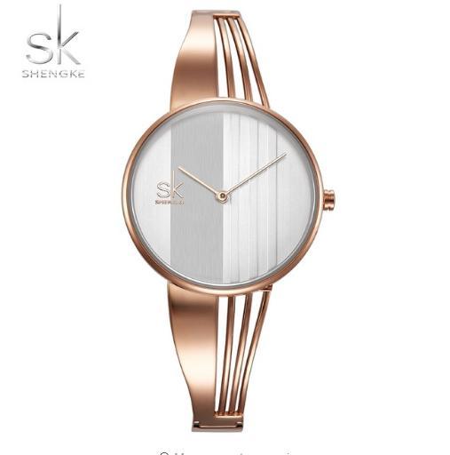 Shengke moda chapado en oro de las mujeres relojes encanto señoras reloj de pulsera pulsera de cuarzo reloj mujeres Montre Femme Relogio Feminino