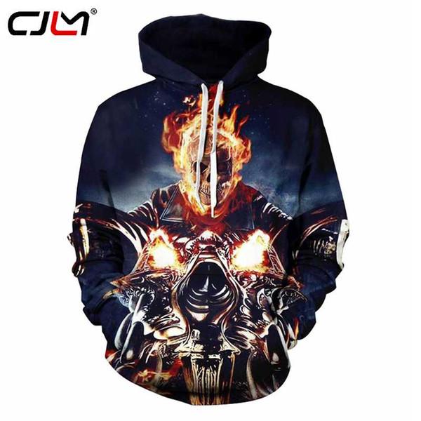 CJLM Men Hoodies 2018 New Design 3d Print Motorcycle Skull In Fire Sweatshirt Hoodie Sudadrea Hombre Casual Hooded Pullover Coat