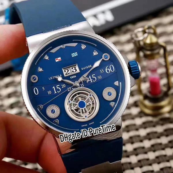 Yeni Deniz Dalgıç 6300-300 / GD Gül Altın Mavi Kadran Tarihi Otomatik Tourbillon Mens Watch Kauçuk Deri Saatler 6 Renk Puretime Ucuz UN-111b2
