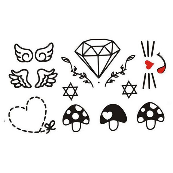 Hottest Temporary Tattoo Sticker Women Men DIY Body Art Tattoo Design Diamond Wing Heart Pattern Fake Tattoos for Girl