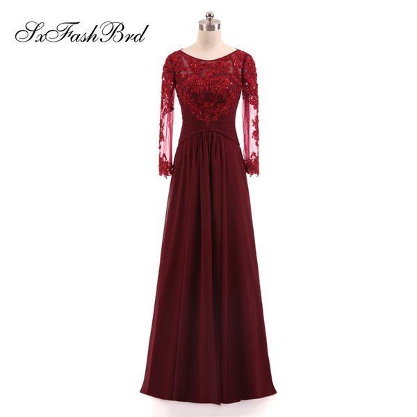 Girls Dress Elegant O Neck With Appliques Beading Long Sleeves A Line Chiffon Long Party Formal Evening Dresses for Women Prom Dress Gowns