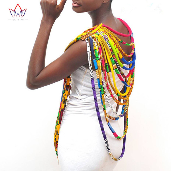 BRW 2018 African Ankara Necklaces Wax Print Fabric Colorful Necklace Shawl African Ankara Handmade Necklace Tribal Jewelry WYX06