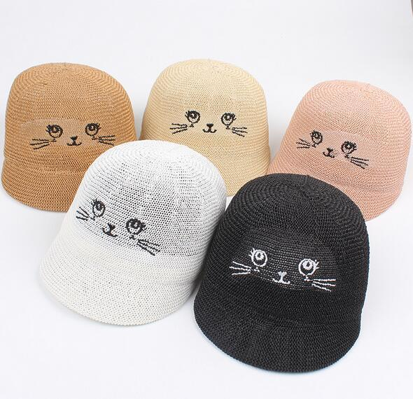 2018 spring and summer new smiley cartoon cute riding cap children's wild straw hat men and women baby cute visor