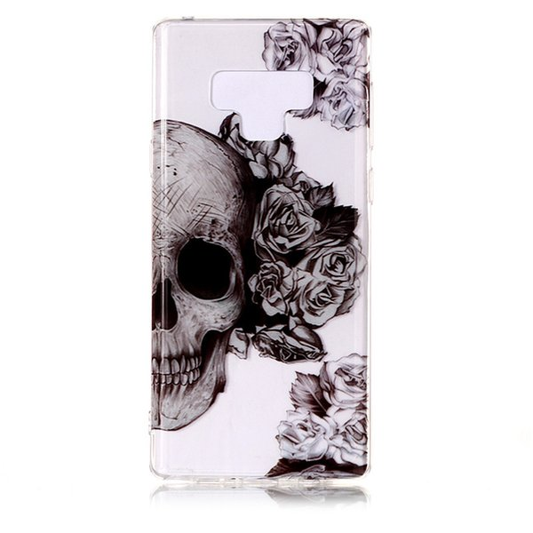 Soft Case For Samsung Note 9 TPU IMD Shell Soft Clear Skin For iPhone Xr Xs Max 10 X New phone 6.1 6.5 inch Plastic Skull Flower Phone Cover
