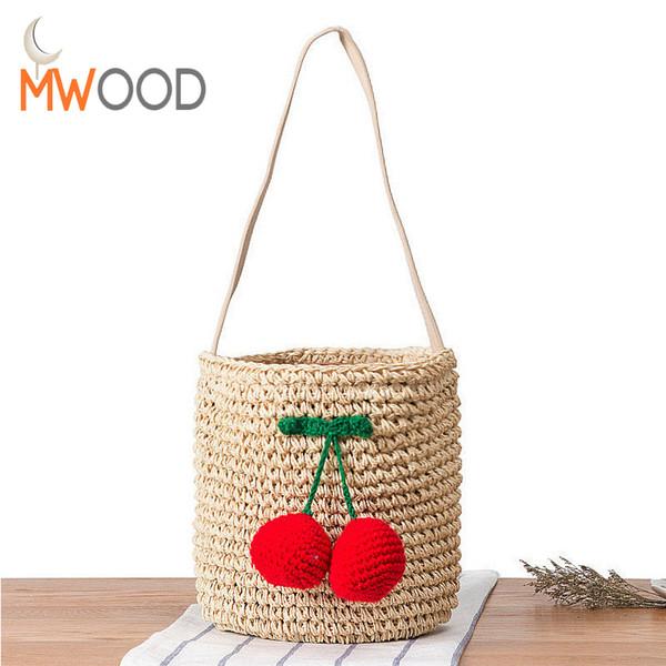 2018 Summer Famous Designer Cherry Straw Bucket Bag Women Pompom Hand-Woven Drawstring Shoulder Bag Girl Beach Bag Shopper Bolso D18102303
