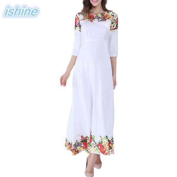 2018 Heißer Verkauf Weiße Blumendruck Maxi Kleid Frauen Reiches Schlank Casual Kleider Weibliches Kleid Für Party Shopping Büro Urlaub