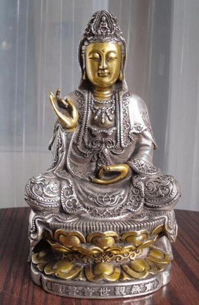 "bi001635 8"" tall Tibetan Buddhist bronze cated silver Kwan Kuan Guan Yin Buddha statue"
