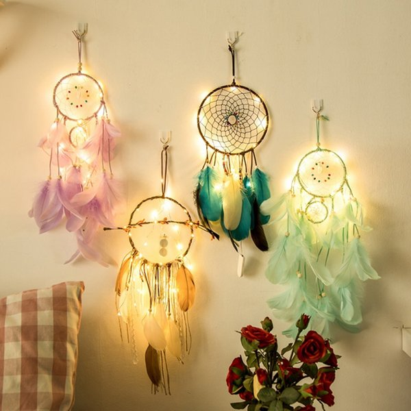 2019 20 Lamp Dream Catcher Net Led Stars String Lights Diy Wind Chimes Natural Feathers Wall Hanging Decor Dreamcatcher Lamp String From Ok360 6 86