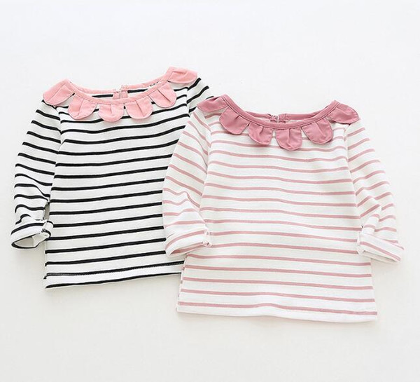 girl kids clothing long sleeved T shirt stripped sunflower round collar design girl clothing shirt 100% cotton girl shirts kids clothing