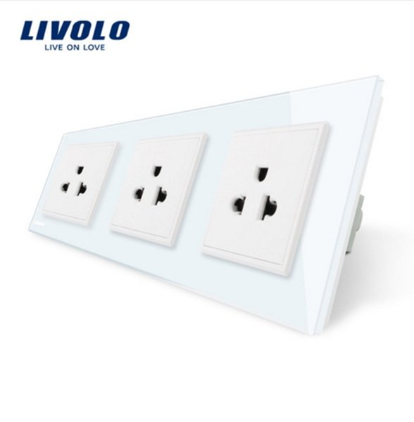 Livolo New US Standard Power Socket, White/Black Crystal Glass Socket , 16A Triple Wall Power Outlet Without Plug,C7C3US-11/12