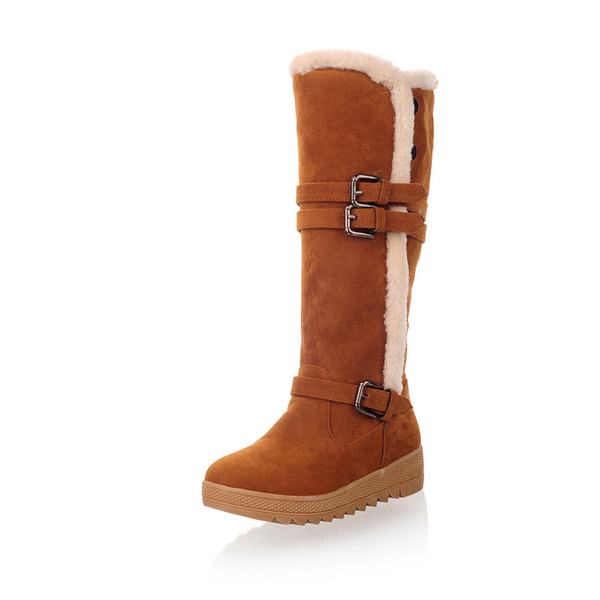 womens thickened fur snow boots mid-calf flat winter shoes woman plush female waterproof ladies boots for women with buckle zx668
