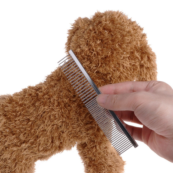 Stainless Steel Pet Dog Cat Shedding Comb Grooming Spaced Round Teeth Wide Trimmer Grooming Comb For Shaggy Dogs Barber