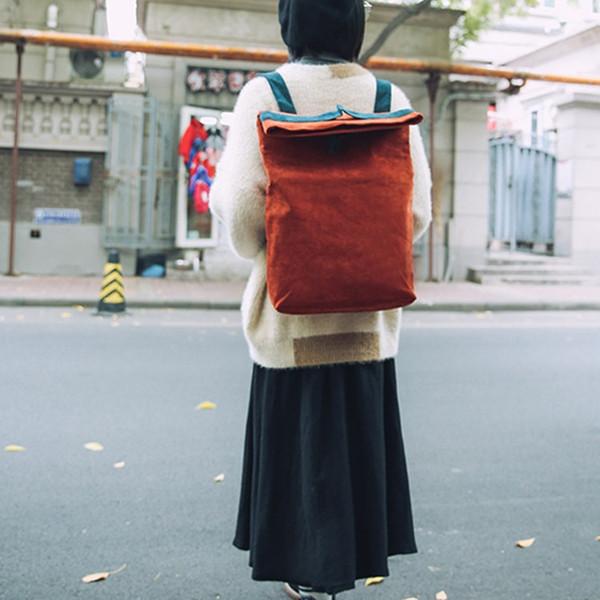 2018 new folding women's backpacks college wind student bag for women simple backpack yellow red green orange blue knapsack