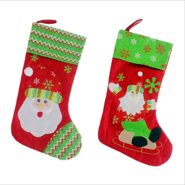Christmas Stockings Cartoon.2 Style Cartoon Embroidery Christmas Santa Claus Stocks Home Hotel Christmas Stockings Decoration Kids Candy Bag Christmas Decor On Sale Online