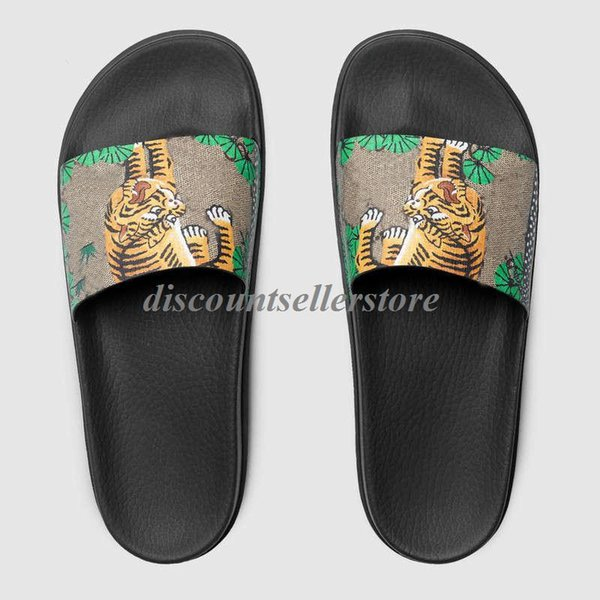 new arrival 2018 mens and womens fashion green bengal tiger slide Sandals with rubber sole boys girls causal beach rubber flip flops