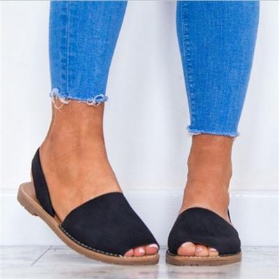 Wholesale Women Sandals Fashion Peep Toe Summer Shoes Woman Faux Suede Flat Sandals Gladiator Party Woman Shoes Platform Low Heel Sandals