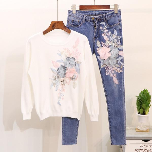 Mooirue Autumn Women Flower Matching Sets Sweet Bordado Tejido Camiseta + Slim Pencil Jeans Mujer Blanco Rosa Dos Piezas Outfit