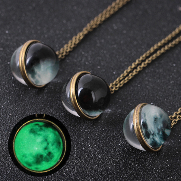 Dual Side Gemstone Glow in the Dark Necklace Glass Cabochon Universe Moon Necklaces Ball Pendant Chains Fashion jewelry