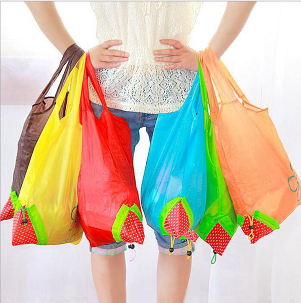 best selling Strawberry Shopping Bags Foldable Tote Eco Reusable Storage Grocery Bag Tote Bag Reusable Eco-Friendly Shopping Bags