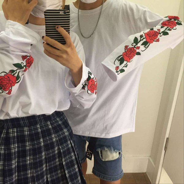 Chic Personnalisé Rose Manches Mince Couple Lâche T-shirt Femmes Sweat-shirts Japon Harajuku Ulzzang Femme Coréenne Kawaii Mignon