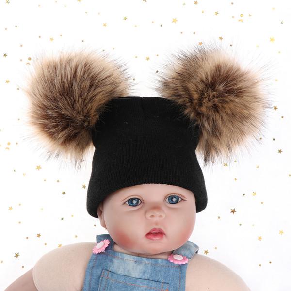 cdad415ac4d 2018 Cute Children Boy girl Winter Warm Knit Beanie Hat Winter Hat Double  Pompom Hats Fur Ball Cap Gorros Para Bebe unisex