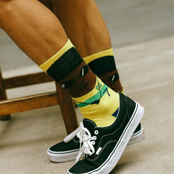 CHAOZHU 1 Pair European Fashion Hip-hop Cartoon Street Snap Trendy Street Snap Jacquard Crew Socks Men