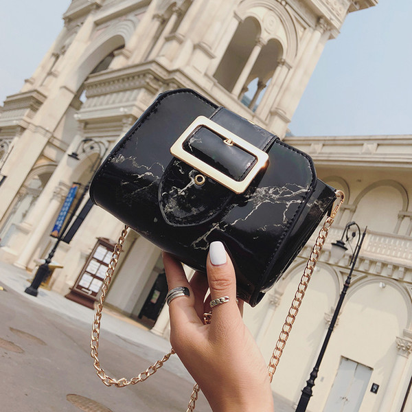 2018 Woman Shoulder Messenger Bags Mini Cross Body Pu Leather Bag Chain Elegant Small Bag Black White