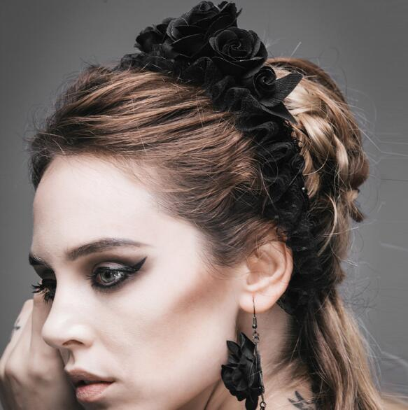 Gothic Steampunk Black Rose Hairband LOLITA Black Flower Lace Hair Band Hollween Party Custome Party Hat