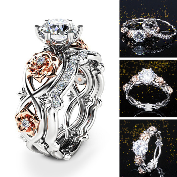 Women Rose Flower Jewelry Exquisite Gemstone Cz Wedding Couple Ring 925 Silver Filled Ring Set For Bridal Engagement Size 6-10 Drop Shipping
