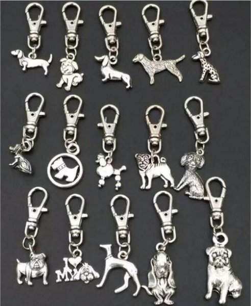 Hochwertige Schlüsselanhänger Antik Silber Zink Legierung Mischhund Schlüsselanhänger DIY Schlüssel Autotasche Handtasche Schmuck Zubehör A88