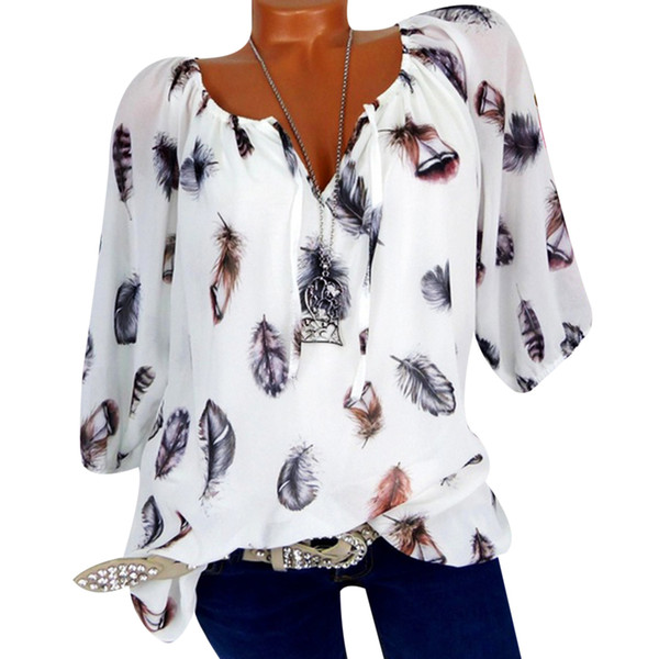 Women Long Sleeve Feather Print Lace Up V-Neck Off Shoulder Blouse Plus Size M-4XL Fashion Half Sleeve Ladies Shirts Tee Blusas