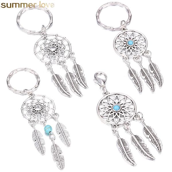 Antico argento nappa perline piuma Dreamcatcher portachiavi donne campanelli eolici portachiavi foglia auto borsa decorazione stile indiano