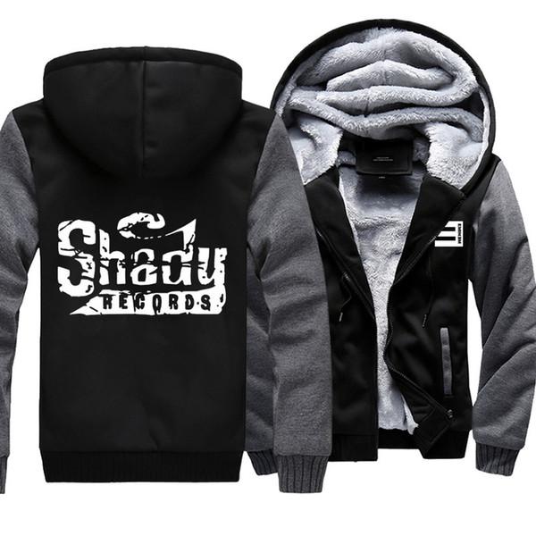 Cappuccio con cappuccio Eminem Thicken Shady Records Cappotto caldo Cappotto invernale in pile con cerniera