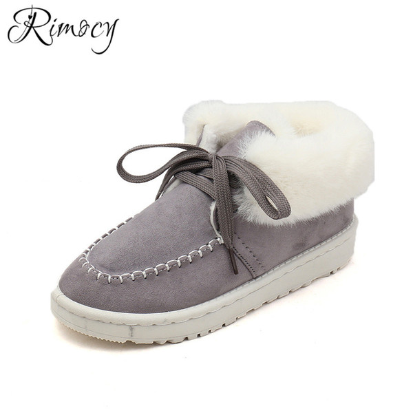 wholesale lace up snow boots fashion faux fur botines femme flat heels ankle for women flock round toe winter shoes warm liner boot