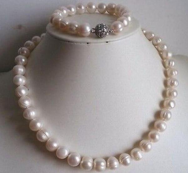 9-10mm White freshwater Cultured Pearl Necklace Bracelet Set 18