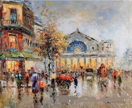 Scena di strada di Parigi, dipinto ad olio di arte impressionista della stampa di HD dipinta sulla decorazione della parete della tela di alta qualità di più dimensioni Shipp libero