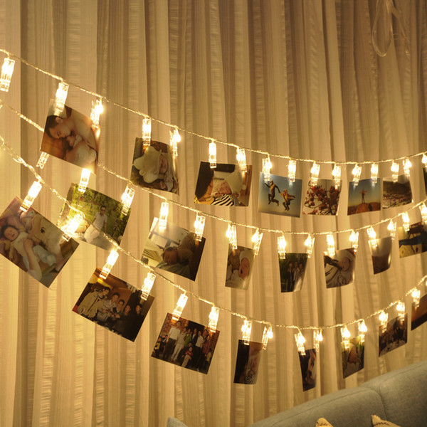 led photo clip lights 2018 new flash string lights star light photo wall layout battery photo clip wholesale free shipping