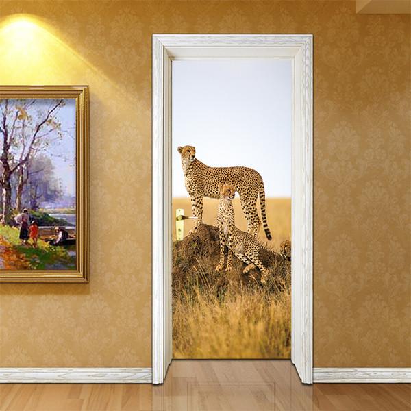 Creative Animal Cheetah Leopard Door Stickers Corridor Wallpaper Poster  Wall Stickers Office Bedroom Living Room Home Decoration Home Decor  Stickers ...