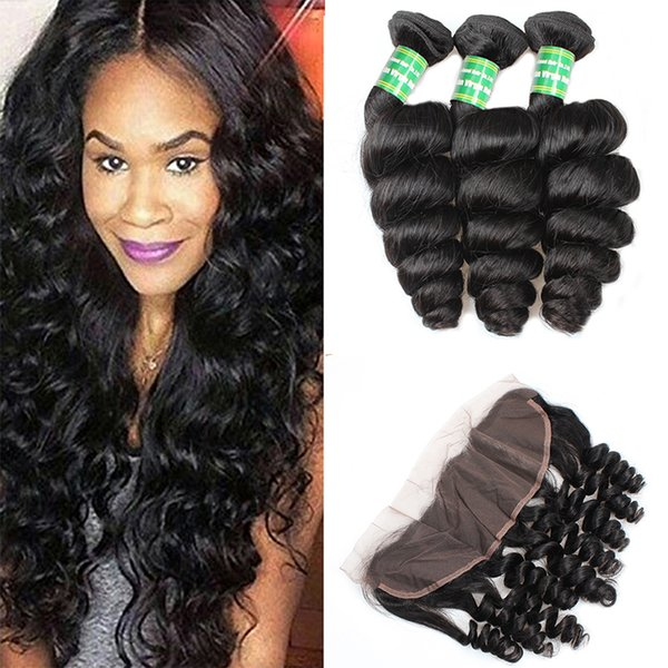 8A Ear To Ear 13x4 Lace Frontal Closure With Peruvian Loose Wave 3Bundles With Frontal Closure Bleached Knots And Bundle Deals Human Hair