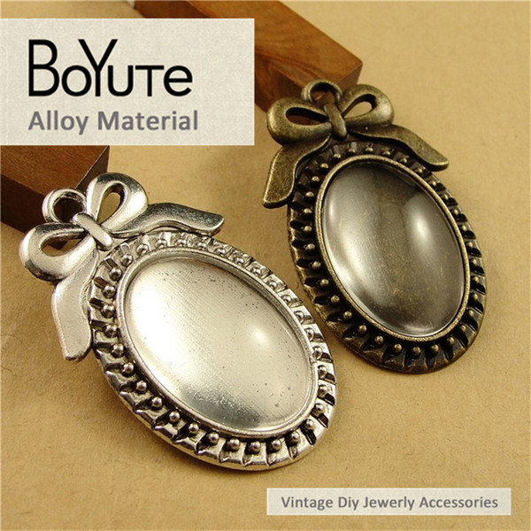 BoYuTe (40 Pieces/Lot) 25*18MM Antique Bronze Silver Plated Filigree Bowknot Cameo Cabochon Base Setting Pendant Jewelry Blank Accessories