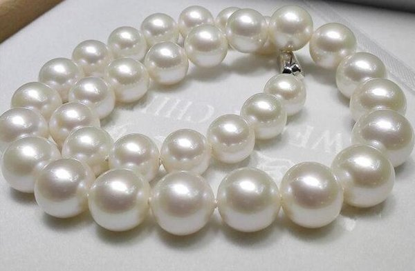 """top popular Fine Pearl Jewelry HUGE 18"""" 12-16mm natural south sea genuine white Round pearl necklace 585 gold clasp 2021"""