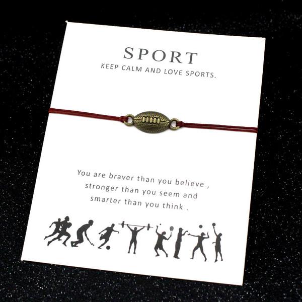Calcio Sport Bracciali Baseball Ginnastica Chiave a ferro di cavallo Amore serratura Charms Gioielli regolabile Donne Uomini Ragazzi Amicizia regalo