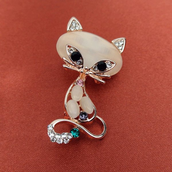 20 pcs/lot New Fashion Gold Filled Multicolor Opal Stone Fox Brooches pin Women's Fashion Cute Animal Pin Brooch Jewelry