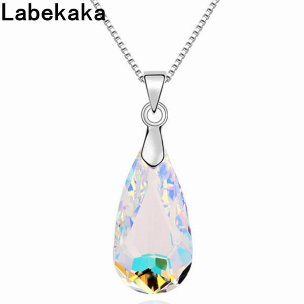 Labekaka Water Drop Crystal de Swarovski Fashion Necklace Pendants Marca Joyas Para Mujeres Caja de cadena